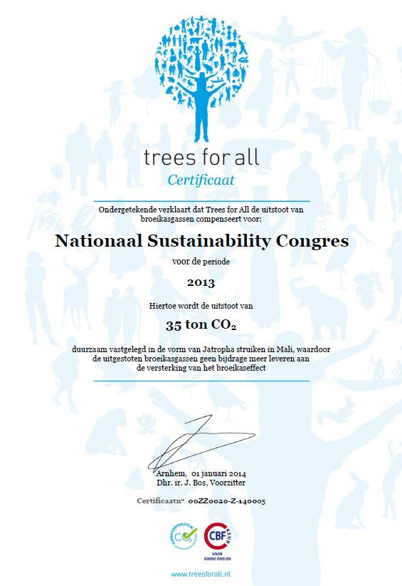 CO2 emissie NSC 2013 gecompenseerd door Trees for All